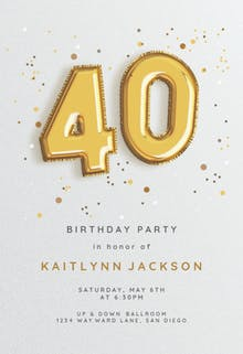 Foil balloons - Birthday Invitation