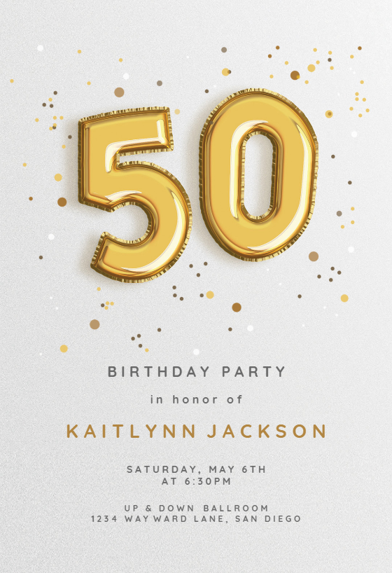50th Foil Balloons Birthday Invitation Template Free