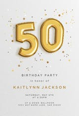 50th Foil balloons - Birthday Invitation