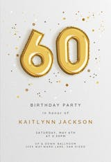 60th Foil balloons - Birthday Invitation