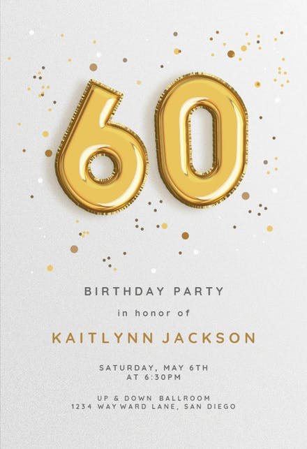 60th Birthday Invitation Templates Free Greetings Island