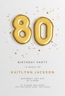 Foil balloons - Birthday Invitation