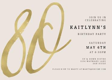 Foil Numeric 80 - Birthday Invitation