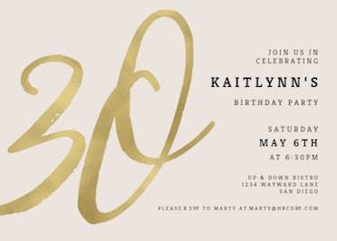 Foil Numeric 30 - Birthday Invitation