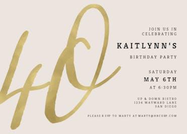 Foil Numeric 40 - Birthday Invitation
