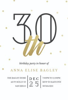 Golden age 30 - Birthday Invitation