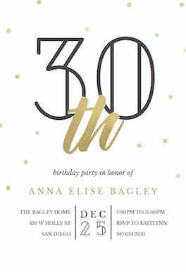 Golden age 30 - Birthday Invitation