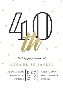 Golden age 40 - Birthday Invitation