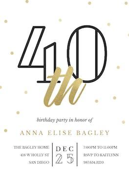 Golden age 40 - Birthday Invitation