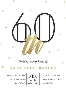 Golden age 60 - Birthday Invitation