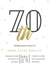 Golden age 70 - Birthday Invitation