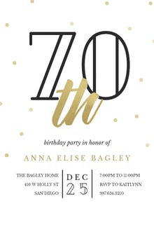 Golden age 70 - Birthday Invitation