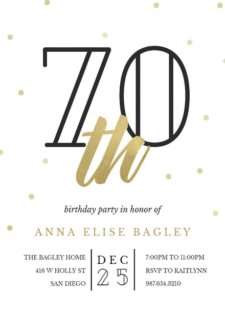 Golden Age 70 Birthday Invitation Template Free