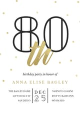Golden age 80 - Birthday Invitation