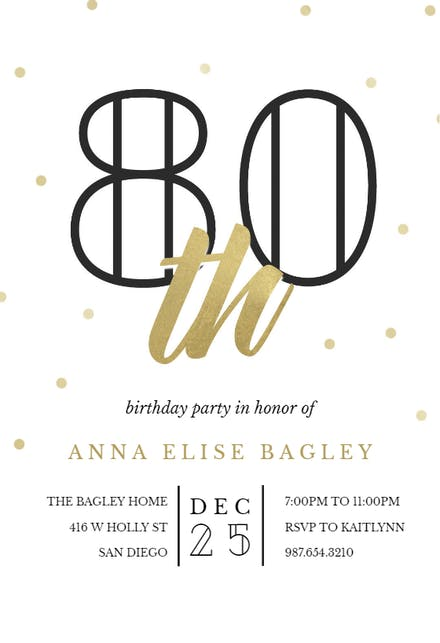 Invitaciones De Cumpleaños Número 80 Gratis Greetings Island