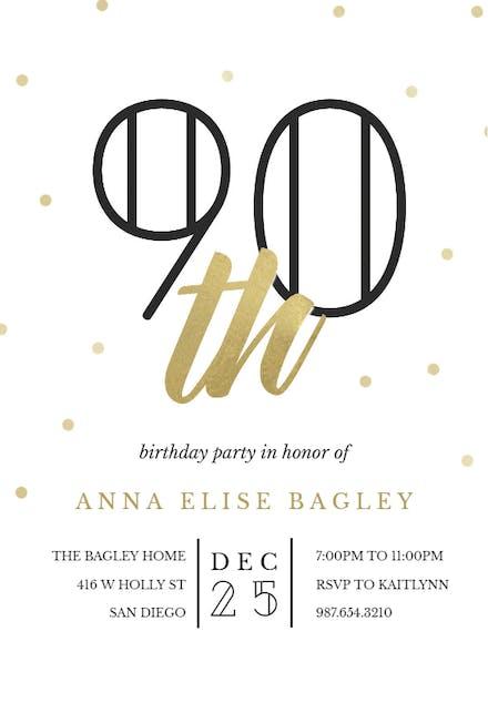 Invitaciones De Cumpleaños Número 90 Gratis Greetings Island