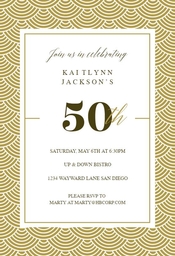 Peachy 50Th Golden Birthday Birthday Invitation Template Free Funny Birthday Cards Online Elaedamsfinfo