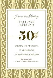 50th Golden Birthday - Birthday Invitation