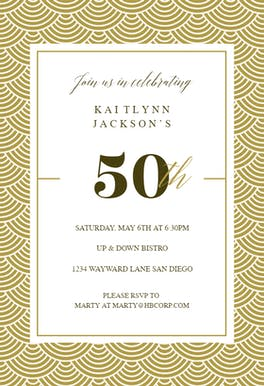 50th golden birthday free birthday invitation template greetings