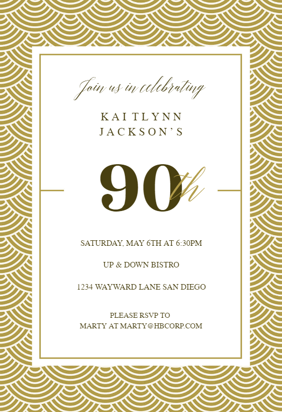 Free 90th Birthday Invitation Templates Greetings Island