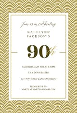 90th Golden Birthday - Birthday Invitation
