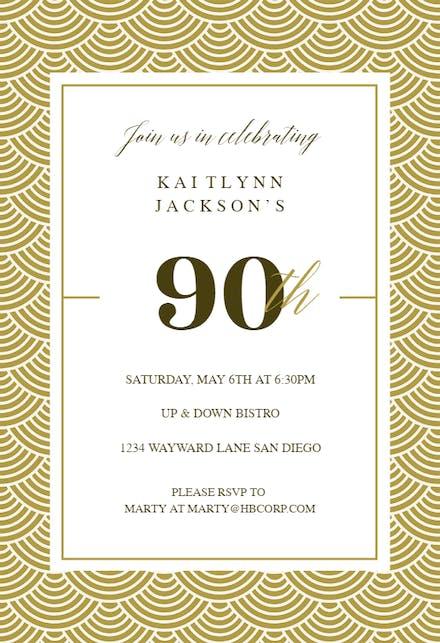 90th Birthday Invitation Templates Free