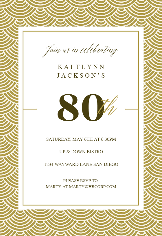 80th Golden Birthday Birthday Invitation Template Free