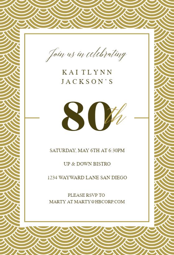 picture regarding 80th Birthday Invitation Templates Free Printable titled 80th Birthday Invitation Templates (Totally free) Greetings Island