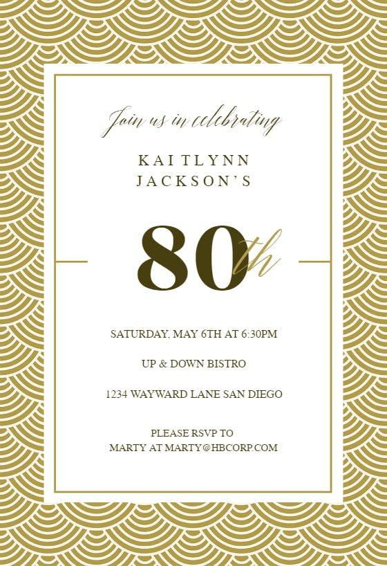 80th Golden Birthday Birthday Invitation Template Free