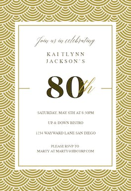 80th Golden Birthday - Birthday Invitation
