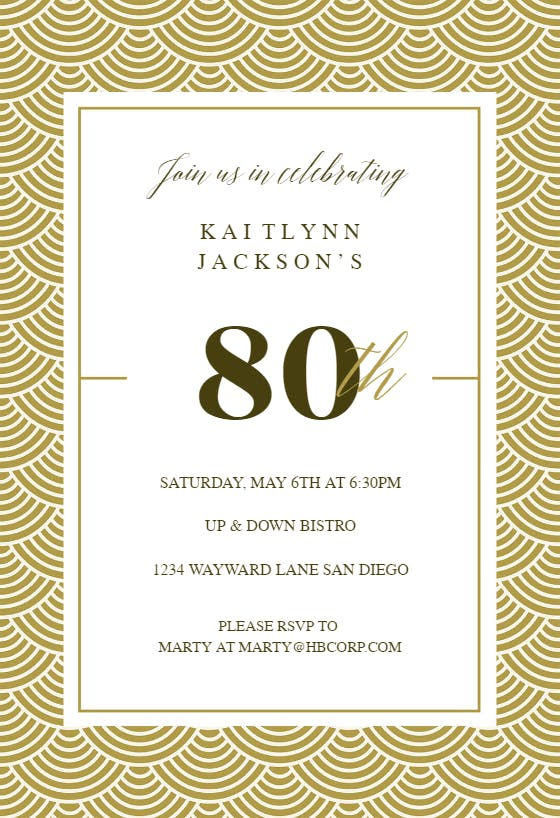 80th golden birthday