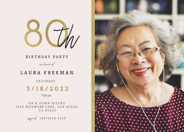 Golden line 80 - Birthday Invitation