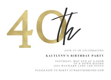 Golden Numerals 40 - Birthday Invitation