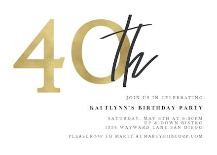 Invitaciones De Cumpleaños Número 40 Gratis Greetings Island