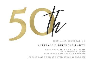 Golden Numerals 50 - Birthday Invitation