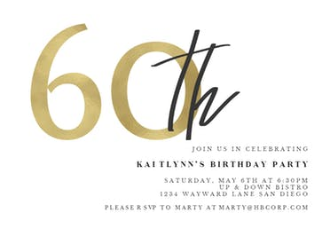 Golden Numerals 60 - Birthday Invitation