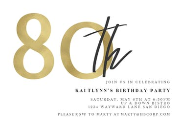 golden numerals 80 free birthday invitation template greetings