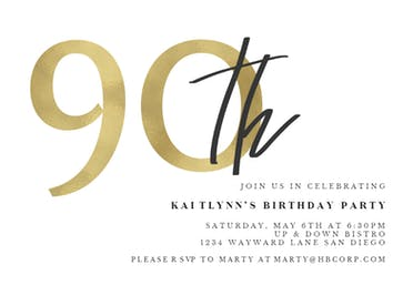Golden Numerals 90 - Birthday Invitation