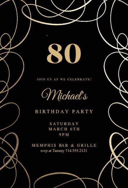 Intricate Swirls Invitación De Cumpleaños Gratis