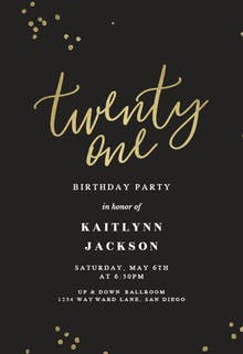 Free 21st birthday invitation templates greetings island minimal confetti 21 birthday invitation filmwisefo