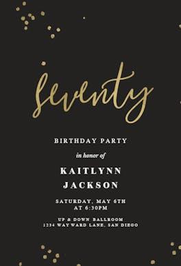 Minimal confetti 70 - Birthday Invitation