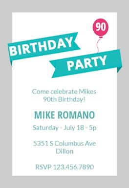 Modern Party - Birthday Invitation