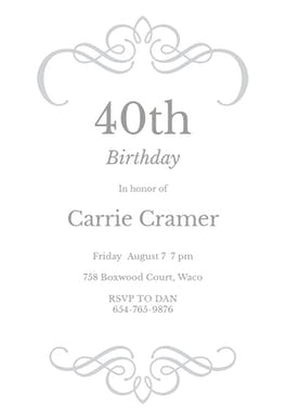 Scrolled Designs - Birthday Invitation