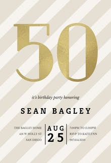 Striped 50 - Birthday Invitation
