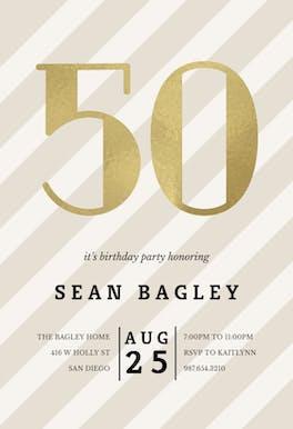 Striped 50 - Birthday Invitation
