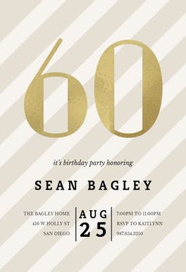 Striped 60 - Birthday Invitation