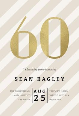 Striped 60 - Birthday Invitation