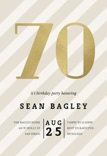Striped 70 - Birthday Invitation