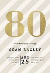 Striped 80 - Birthday Invitation