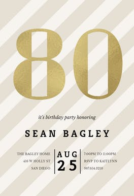 Striped 80 - Birthday Invitation